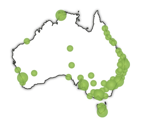 map of australia with scale. hair map of australia with